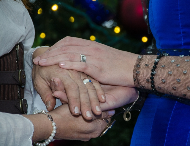 Hands (with rings, post-ceremony)